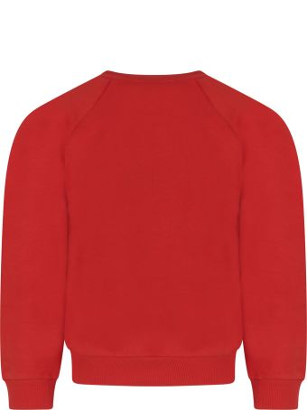 Mini Rodini Red Sweatshirt For Boy With Octopus