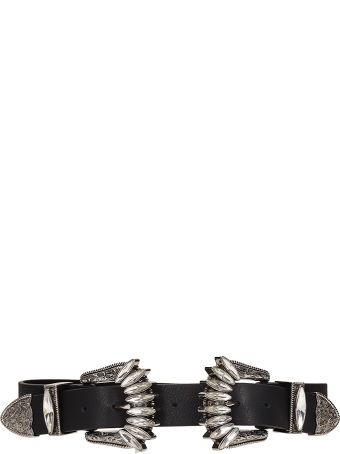 B-Low the Belt Bri Bri Crystals Black Leather  Belt