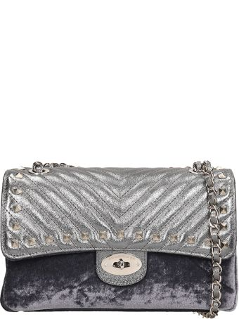 Marc Ellis Silver Quilted Leather And Velvet Bryanna M  Bag