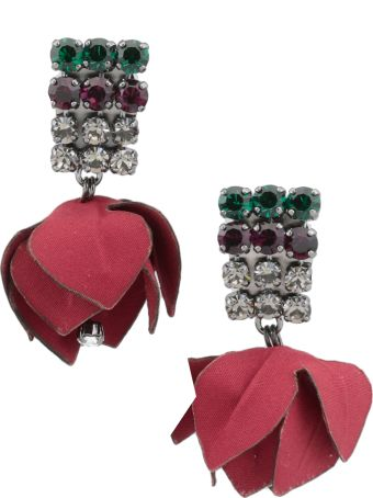 Marni Earrings With Flowers And Strass