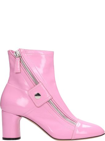 Casadei Pink Patent Leather Ankle Boots