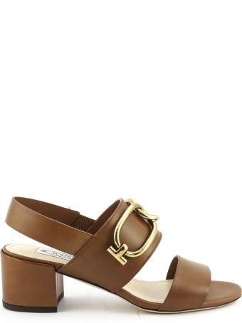 Tod's Sandals In Brown Smooth Leather