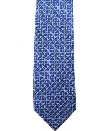 Salvatore Ferragamo Royal Blue Silk Gancini Printed Tie
