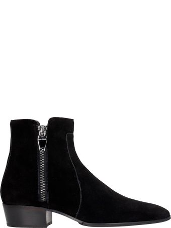 Balmain Anthos Low Heels Ankle Boots In Black Suede
