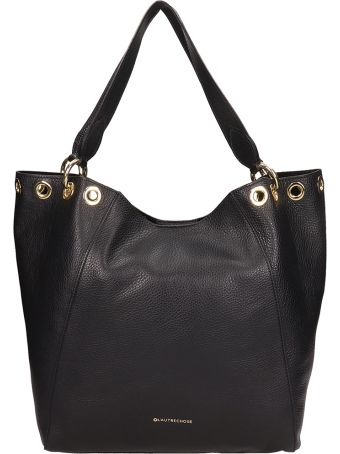 L'Autre Chose Black Leather Shopper Bag
