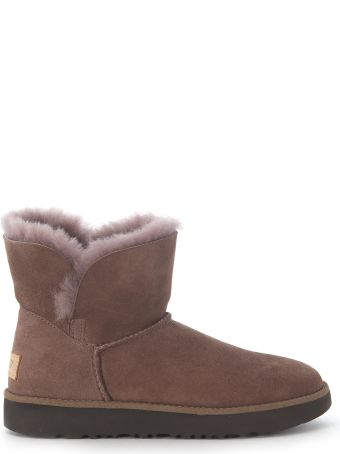 UGG Classic Cuff Mini Ankle Boots In Brown Suede Leather