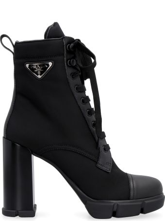 Prada Nylon Lace-up Ankle Boots