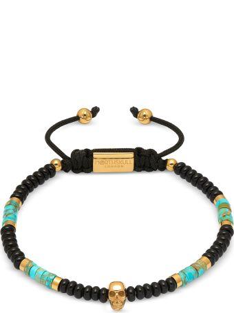 Northskull Atticus Skull Macramé Bracelet In Black Onyx W/ Turquoise And Yellow Gold