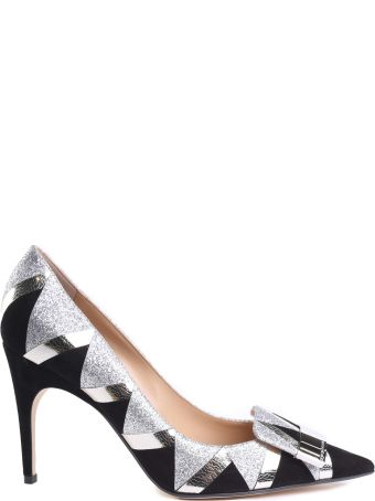 Sergio Rossi Sr1 Geometric-intarsia Crackled-leather And Suede Glittered Pumps