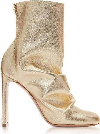Nicholas Kirkwood Light Gold Metallic Nappa 105mm D'arcy Ankle Boots