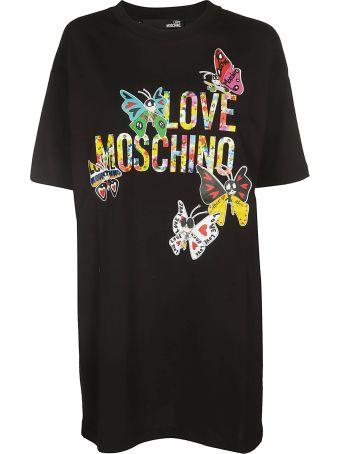 Love Moschino Butterfly Logo Print T-shirt Dress