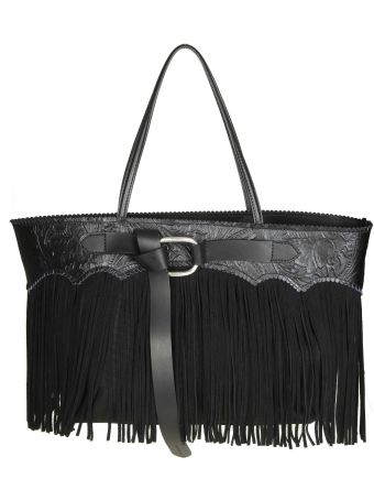 Dsquared2 Leather Bag With Suede Fringes