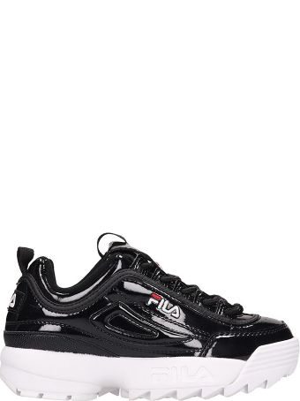 Fila Black Patent Distruptor Low Sneakers