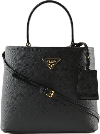 Prada City Logo Plaque Tote