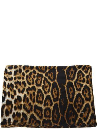 Saint Laurent Leopard Printed Beige & Black Silk Scarf