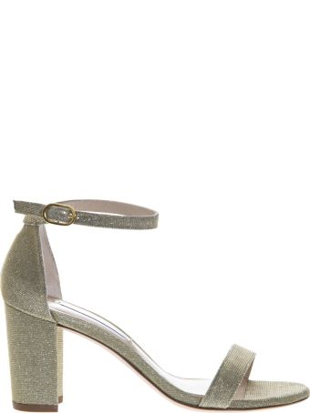 Stuart Weitzman Gold Glossy Fabric Open Toe Sandals