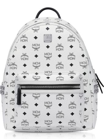 MCM White Smd Visetos Stark Backpack