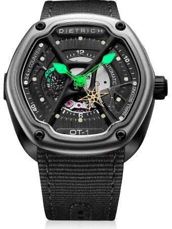 Dietrich Ot-1 316l Steel Men's Watch W/green Luminova And Nylon Strap
