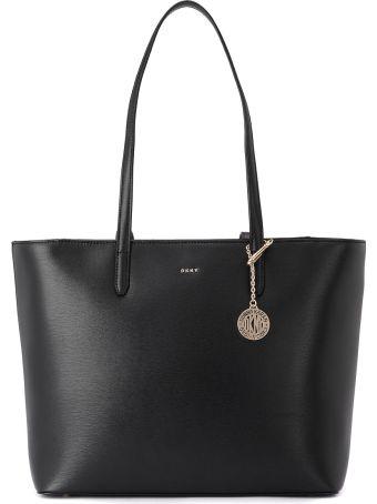 DKNY Bryant Black Leather Shoulder Bag.