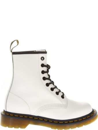 Dr. Martens 8 Eye Smooth White Leather Biker
