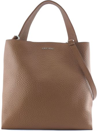 Orciani Brown Leather Jackie Shoulder Bag.