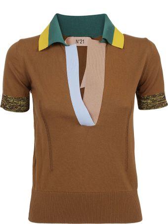 N.21 Ribbed Knit Polo Shirt