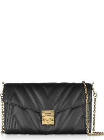 MCM Quilted Black Leather Medium Flap Crossbody Bag