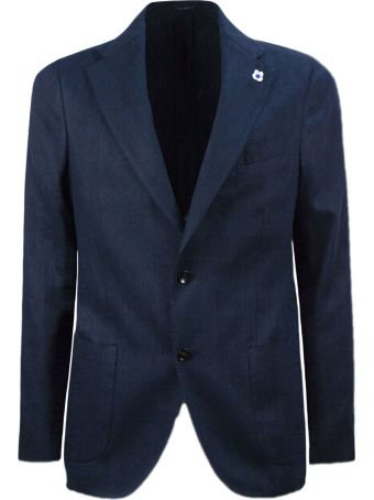 Lardini Blue Cotton And Linen Blazer Jacket