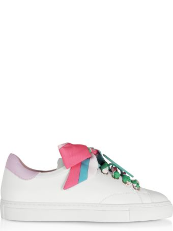 Emilio Pucci White/lilac Leather Women's Sneakers