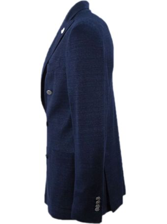 Lardini Blue Linen, Cotton And Silk Jacket