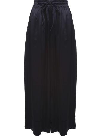 Y-3 Lux Wide Side-stripe Satin Track Trousers