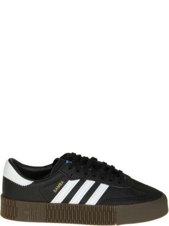 """Adidas Originals """"sambarose"""" In Black Leather"""