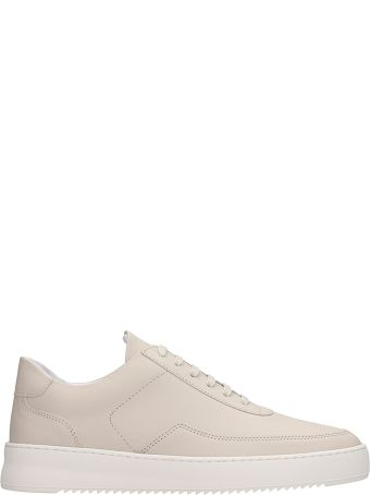 Filling Pieces Beige Leather Low Mondo Ripple Sneakers