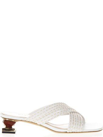 Jacquemus Castana White Leather Ornamental Heels Sandals