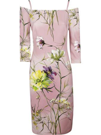 Blumarine V-neck Pleated Long Dress