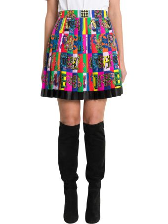 Versace Logo Print Pleated Mini Skirt