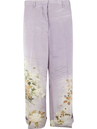Ibrigu Floral Print Folded Cuff Trousers