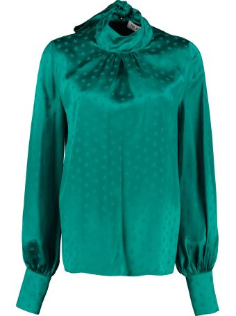 ATTICO Jacquard Blouse With Ruffles On The Neckline