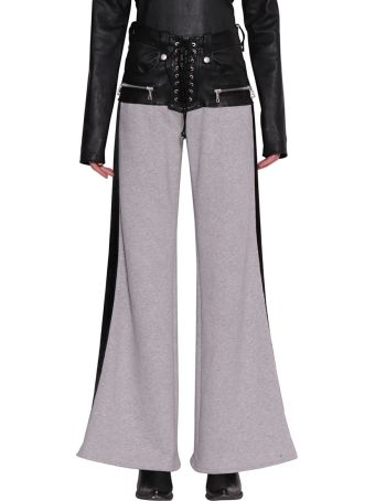 Ben Taverniti Unravel Project Cotton And Leather Flare Pants