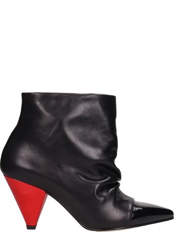 Marc Ellis Black Leather Draped Ankle Boots