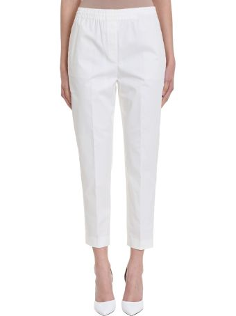 Theory Easy Trousers White Cotton  Pant