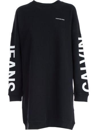 Calvin Klein Jeans Logo Print Sweater Dress