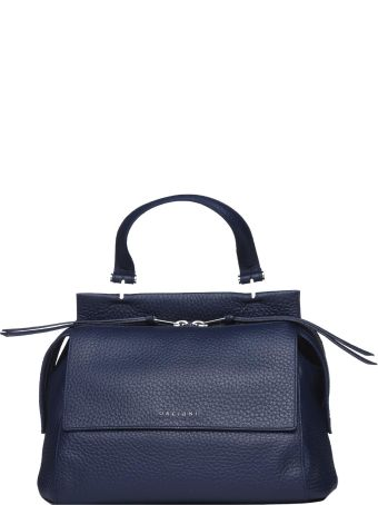 Orciani Frida Soft Handle Bag In Blue Leather