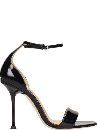 Sergio Rossi Black Patent Leather Sandals