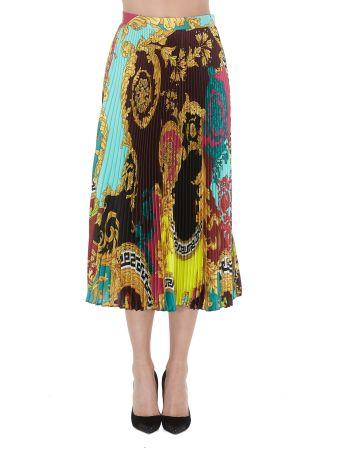 Versace Voyage Barocco Print Pleated Skirt