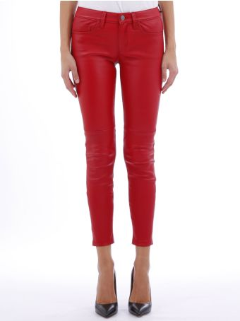 Current/Elliott Red Leather Trousers