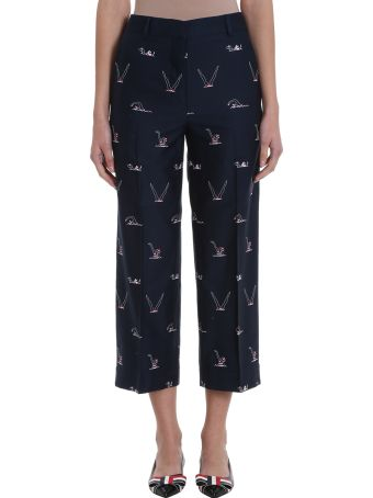 Thom Browne Blu Navy Printed Cotton Trousers
