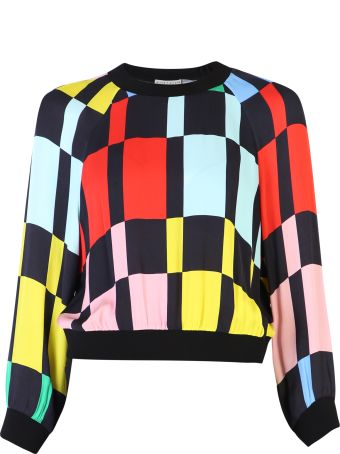 Alice + Olivia Color-block Viscose Blend Blouse