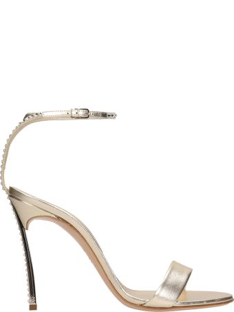 Casadei Crystals Gold Calf Leather  Sandals