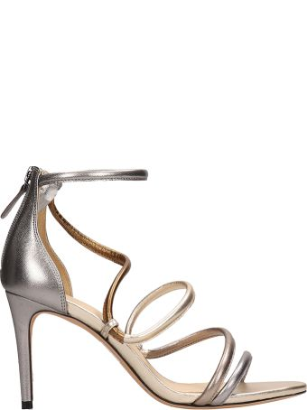 Alexandre Birman Silver Gold Laminated Leather Sandals
